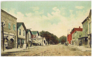 Franklinville in the late 1800s, with the main street still a dirt road