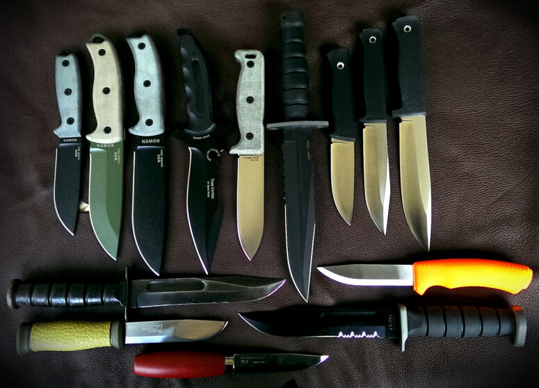 Comparative shot of the ESEE-4, ESEE-5 & ESEE-6 and other common utility, survival & bushcraft knives like Ontario Blackbird & Chimera, Fällkniven, F1, S1 & A1, KA-BAR and Mora Survival, 2000 & Classic 1.