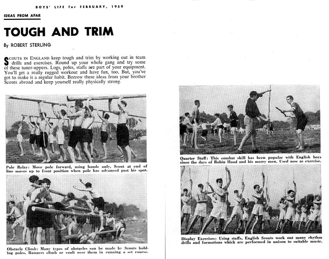 English boy scouts practicing quarterstaff, Boys' Life Magazine, Feb 1959