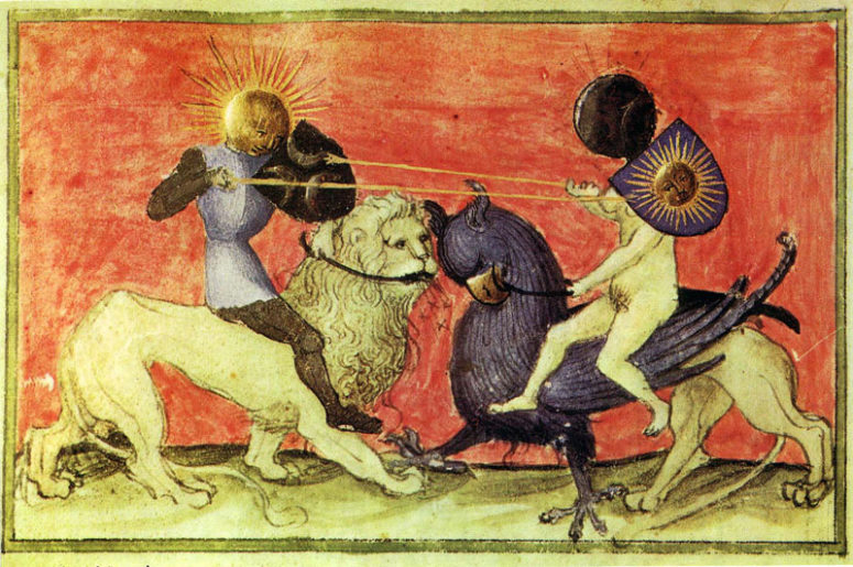 The Sun and the Moon fighting, with the opposition of Lion vs Griffin, and male vs female. In Norse culture the genders of the planetary bodies seem to have been reversed, with the Sun being female.