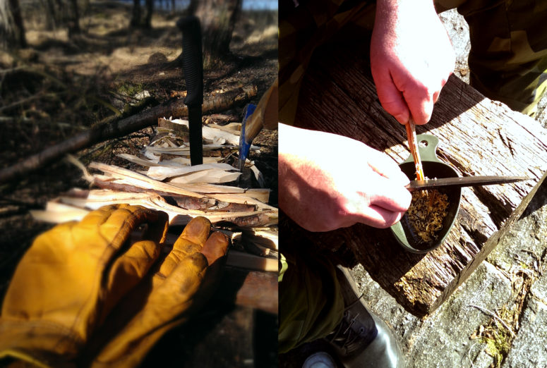 Preparing firewood and tinder with the Sissipuukko