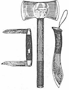 Sears' favorite tools: a two-bladed folding knife for carving, a custom made hatchet with different grinds on the two sides, and a thin-bladed hunting knife for food
