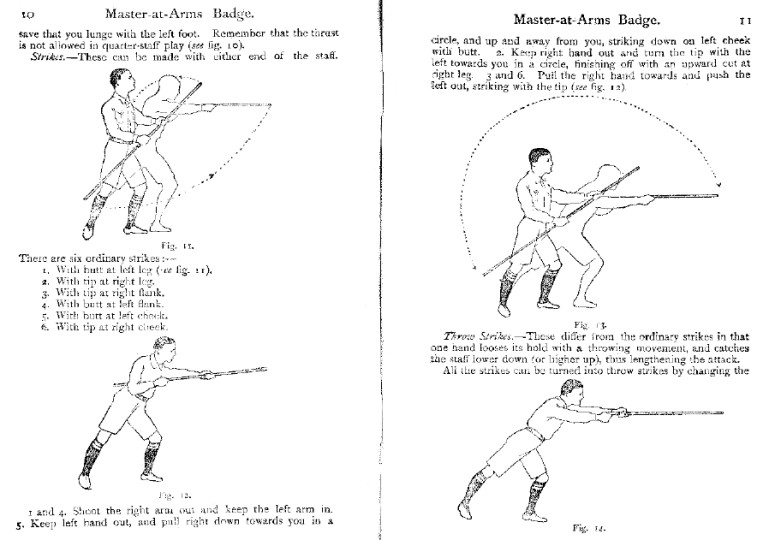 From the Boy Scouts Master-at-Arms Badge manual on the quarterstaff, 1925.
