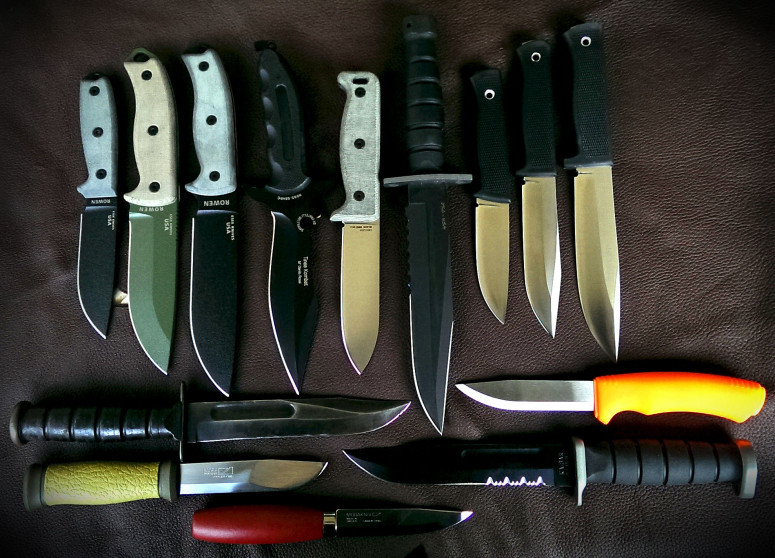 Comparative shot of the ESEE-4, ESEE-5 & ESEE-6 and other common utility, survival & bushcraft knives like Ontario Blackbird & Chimera, Fällkniven F1, S1 & A1, KA-BAR and Mora Survival, 2000 & Classic 1.